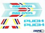 Stickerset Puch Maxi Europa Wit